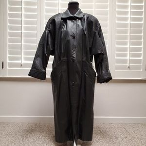 ComintBlack Leather Calf/Ankle Length Coat